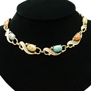Vintage Necklace with Easter Egg Cabs