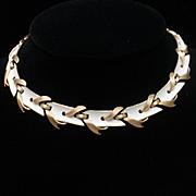 Trifari White Enamel Necklace Vintage
