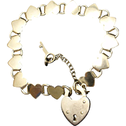Hearts Charm Bracelet with Padlock and Key Vintage