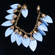 Blue Plastic Leaves Charm Bracelet