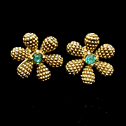 Flower Earrings Green Rhinestone Centers Vintage