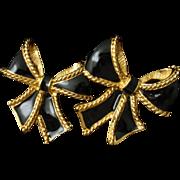 Black Bow Earrings Vintage KJL for Avon