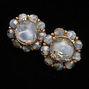 Hattie Carnegie Blue Givre Stones Vintage Earrings