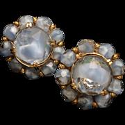 Hattie Carnegie Blue Givre Stones Vintage Earrings