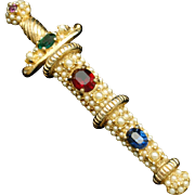 Jeweled Dagger Brooch Pin Vintage