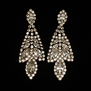 Vintage Rhinestone Earrings Long and Perfect for Special Event