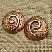 Copper Earrings with Swirl Design Vintage Clips