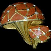 Boucher Double Enamel Mushrooms Pin Vintage