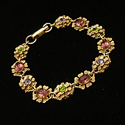 Florenza Bracelet Vintage Multi-Colored Rhinestones