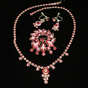 Pink Rhinestones Necklace Pin Earrings Set Parure Vintage