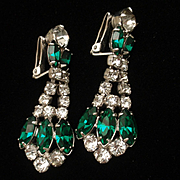 Rhinestone Drop Earrings Dressy Emerald and Clear Rhinestones Vintage