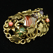Unusual Pin Ivy over Banded Agate with Additional Stones Vintage