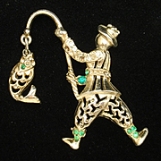 Fisherman with Fish Brooch Pin Vintage Figural