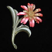 Pink Celluloid Vintage Flower Pin