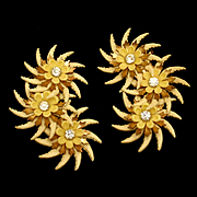 Large Featherlite Flower Earrings Vintage