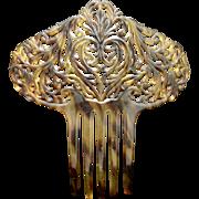 Large Hair Comb Vintage Faux Tortoiseshell