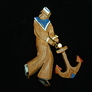 Sailor Boy Pin Vintage Wooden circa 1940s