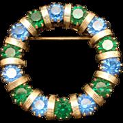 Blue and Green Rhinestones Circle Pin Vintage