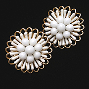 White Earrings Vintage West Germany