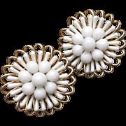 White Earrings Vintage West Germany