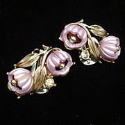 Double Flower Pale Purple Earrings Vintage