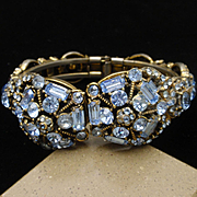 Hollycraft Blue Rhinestones Hinged Bracelet Vintage 1955