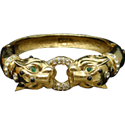 Ciner Hinged Bracelet Double Lion Head Vintage