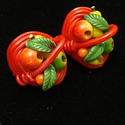 Weeber Fruit Basket Earrings Vintage 1940s