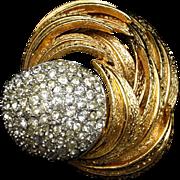 Unsigned Beauty Brooch Pin Rhinestones Vintage