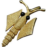 Insect Bug Pendant Vintage Gold Tone Metal
