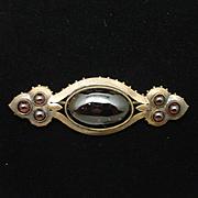 Victorian Etruscan Revival Garnet Bar Pin