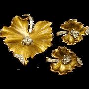 Insect on Leaf Pin Earrings Set Trifari Vintage Enamel Rhinestones