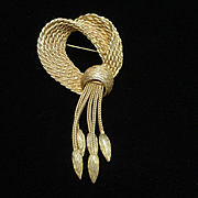 Bow and Tassel Brooch Pin Vintage