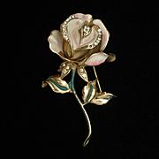 Rose Flower Brooch Pin Vintage Enamel Rhinestones