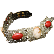 Cameo and Red Cabs Bracelet Vintage Eloxal