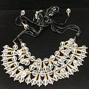Fringed Crystals Necklace Vintage Needs TLC
