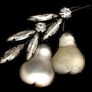 Austria Fruit Pin White Pears Vintage Austrian Brooch