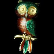 Owl Pin Vintage Enamel Bird