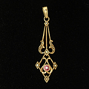 10k Gold Lavalier Pendant with Ruby and Seed Pearls