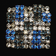 Weiss Patchwork Checkerboard Brooch Pin Rhinestones Vintage