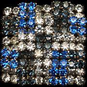 Weiss Patchwork Checkerboard Brooch Pin Rhinestones Vintage