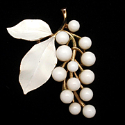 Trifari White Fruit Pin Vintage Cluster of Grapes