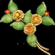 Hobe Flower Pin Vintage Enamel Rhinestones 1965