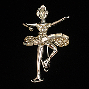 Ice Skater Rhinestone Pin Vintage Figural Brooch by Pell