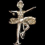 Ice Skater Rhinestone Pin Vintage Figural Brooch by Pell