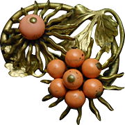 Spiky Flower Pin with Coral Tone Beads Vintage
