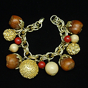 Vintage Charm Bracelet Wood and Metal Chunky and Funky