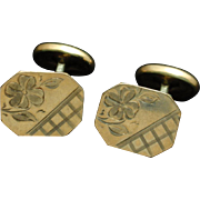 Antique Cuff Links Gold Filled Etched