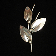 Branch of Leaves Pin Sterling Silver Vintage N.E. From Denmark