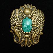 Double Dragons Guarding Green Stone Brooch Pin Vintage